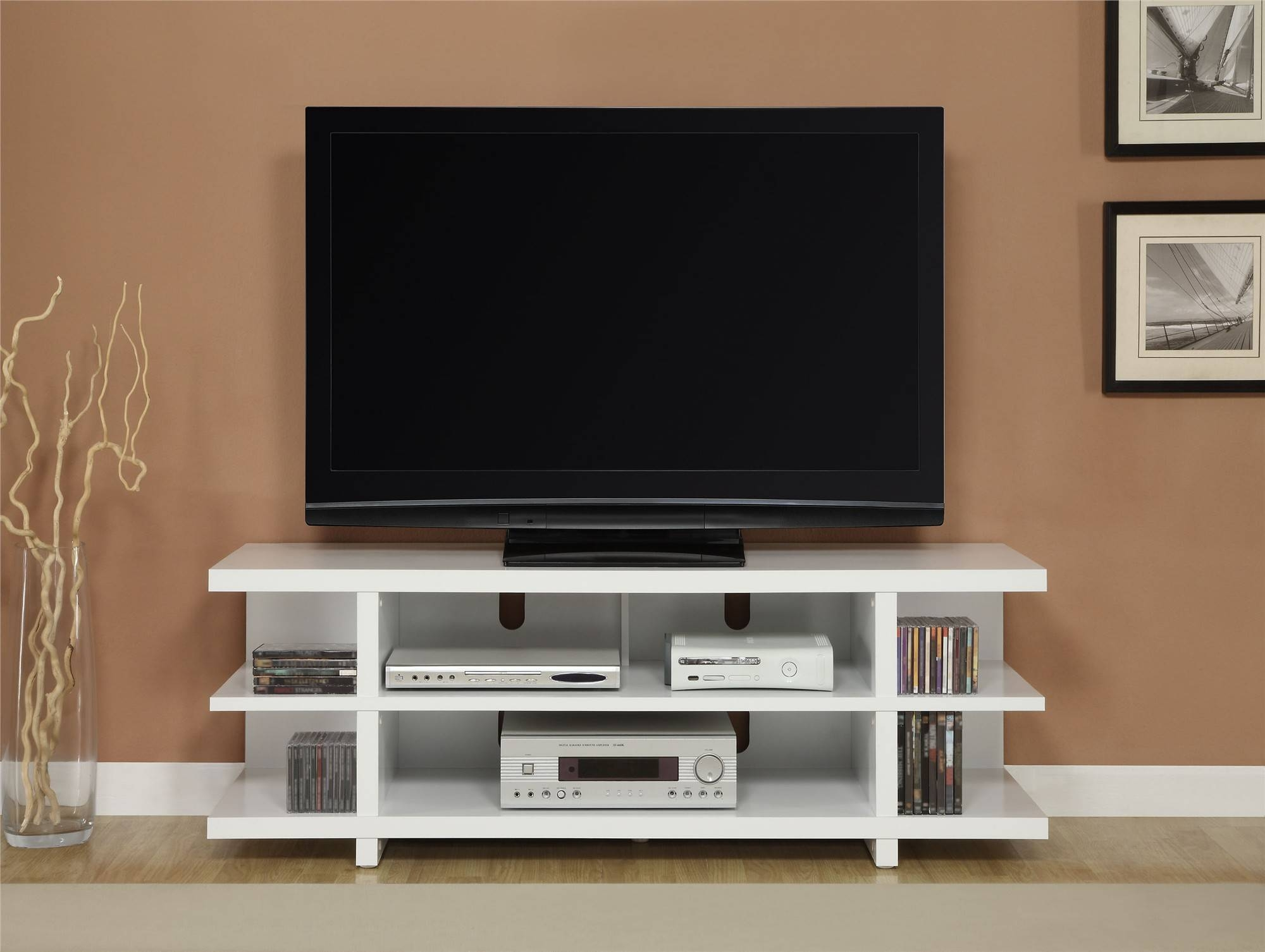White Stained Wooden Tv Stand Having Several Open Shelves For in Contemporary Tv Cabinets for Flat Screens (Image 15 of 15)