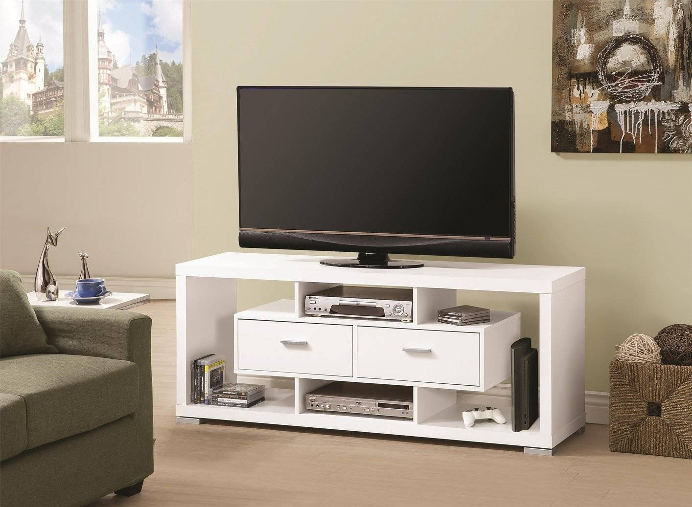 White Wood Tv Stand - Steal-A-Sofa Furniture Outlet Los Angeles Ca in Cheap Wood Tv Stands (Image 14 of 15)