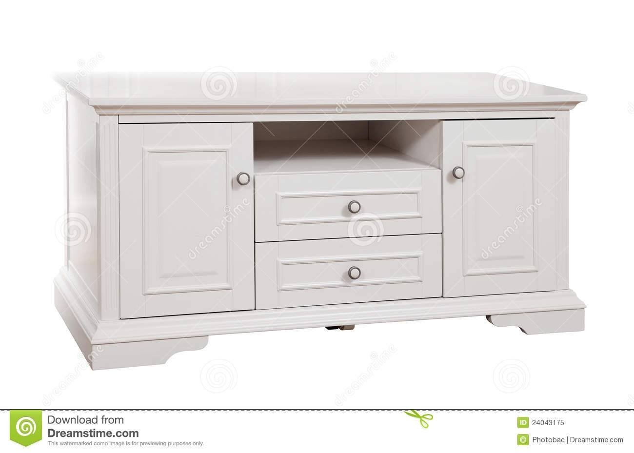 White Wooden (Tv) Stand, With Clipping Path Stock Image - Image pertaining to White And Wood Tv Stands (Image 13 of 15)