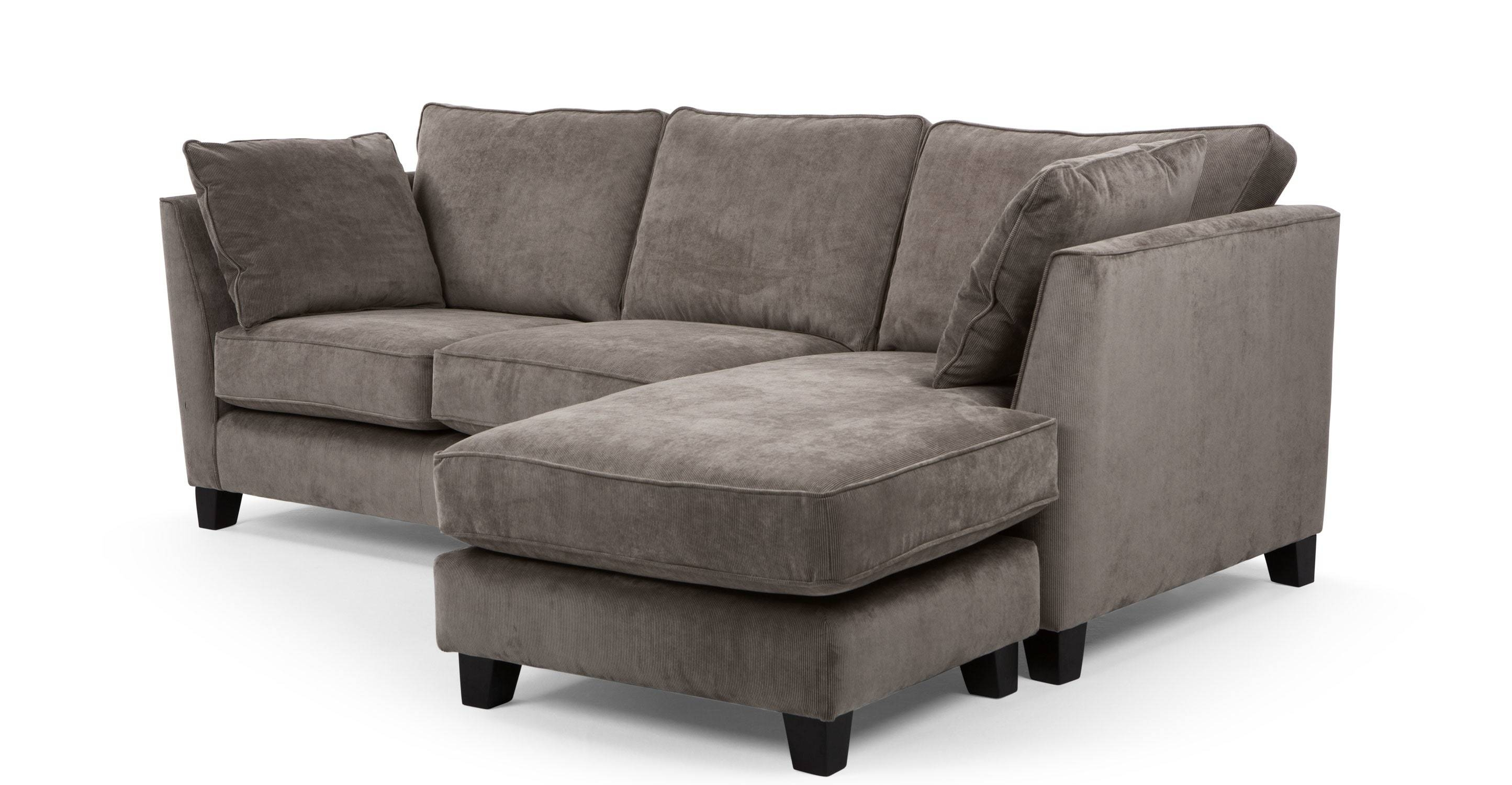 Wolseley Large Corner Sofa, Mid Grey Corduroy | Made inside Brown Corduroy Sofas (Image 15 of 15)