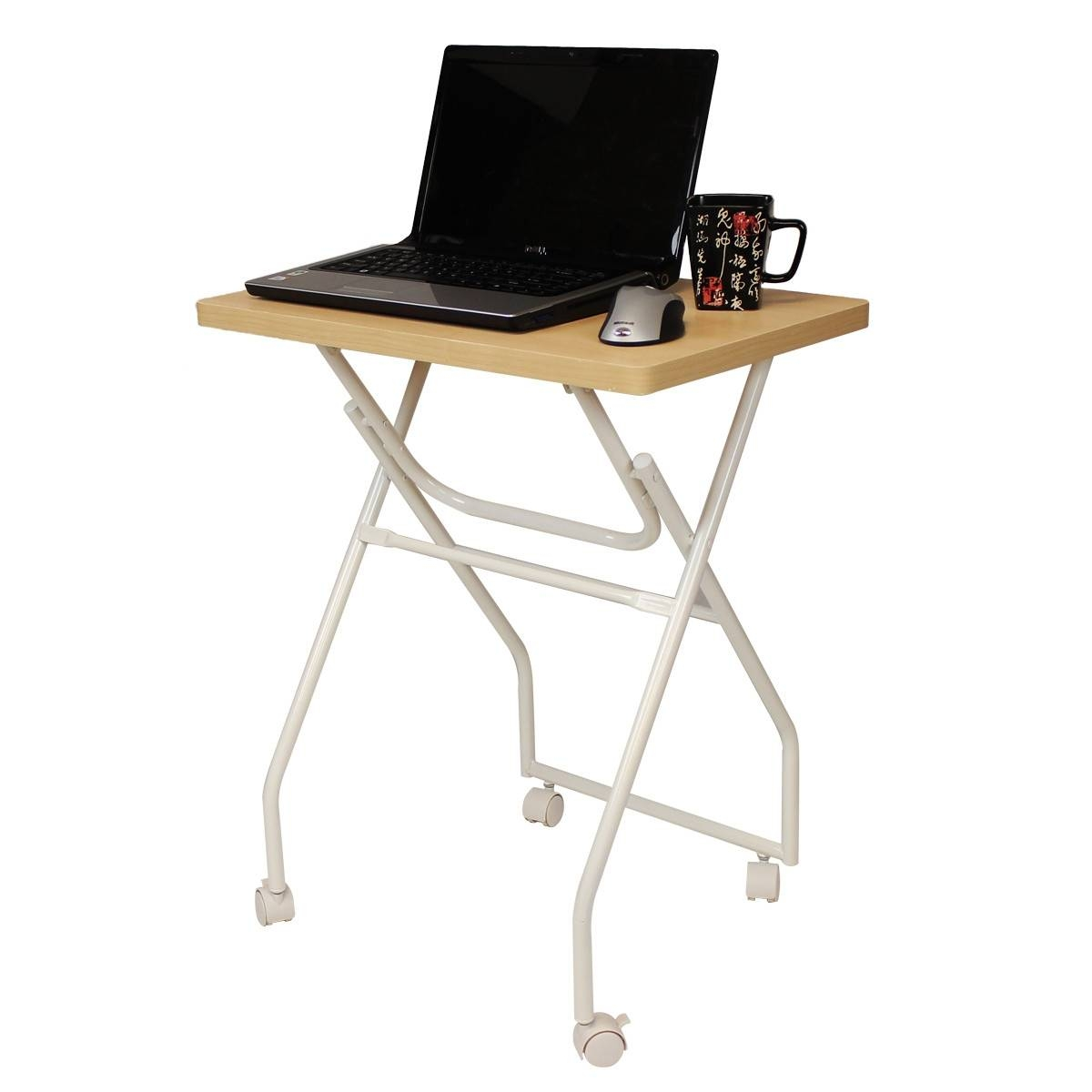 Wood Coffee Table Tv Or Laptop Tray With White Metal Stand And pertaining to Folding Tv Trays With Stand (Image 12 of 15)