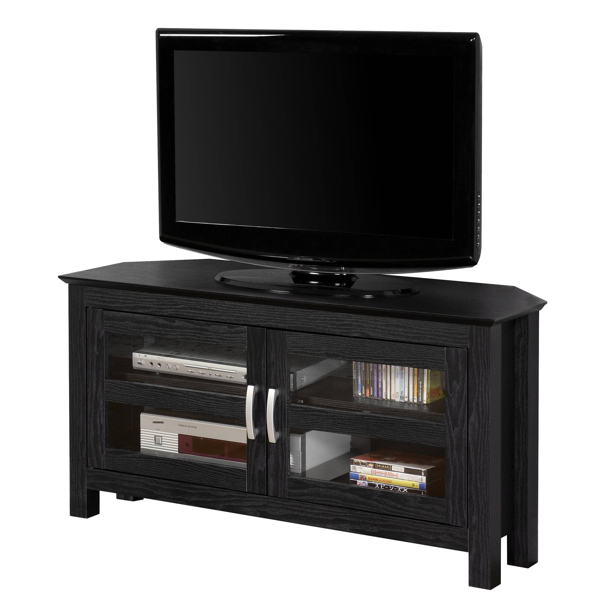 Wood Entertainment Center Corner Tv Stand Stereo Cabinet 44 intended for Black Wood Corner Tv Stands (Image 15 of 15)