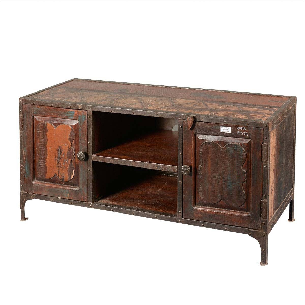 Wood Industrial Long Tv Stand Media Console inside Long Tv Stands Furniture (Image 14 of 15)