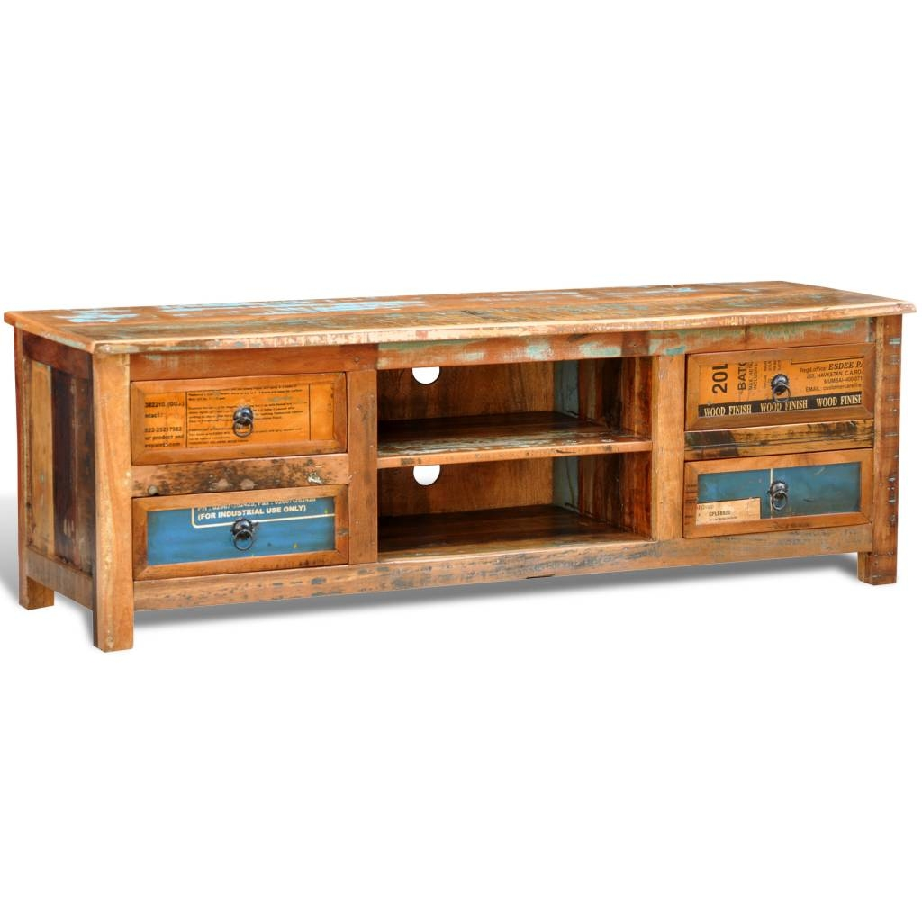 Wood Reclaimed Wood Tv Cabinet Tv Stand 4 Drawers - Lovdock in Recycled Wood Tv Stands (Image 15 of 15)