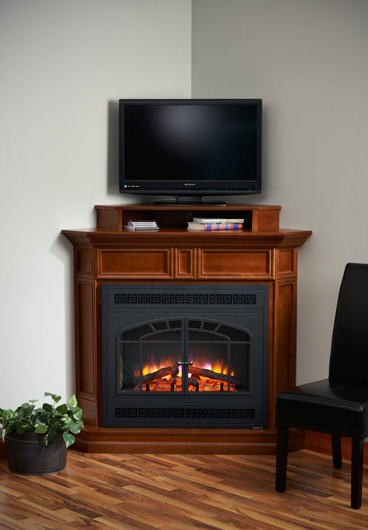 Wooden Corner Tv Stand With Fireplace - Decofurnish with regard to Cornet Tv Stands (Image 15 of 15)