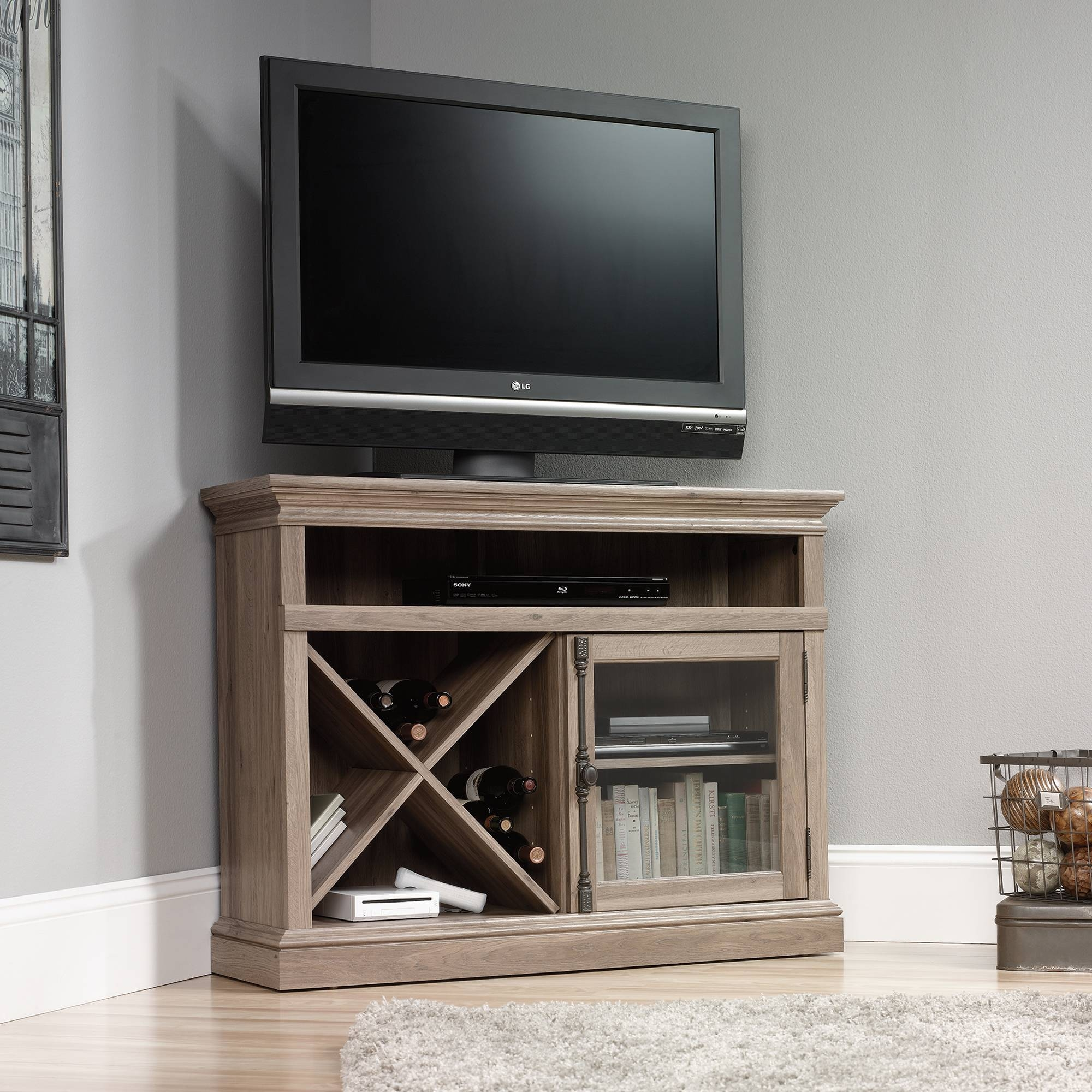 Wooden Corner Tv Stand With Single Glass Cabinet Door And Lattice For Corner Tv Cabinets With Glass Doors (View 15 of 15)