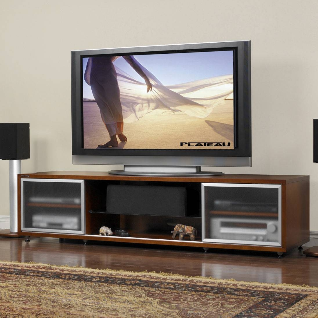 Image Gallery Of Wooden Tv Stands With Glass Doors View 7 Of 15 Photos