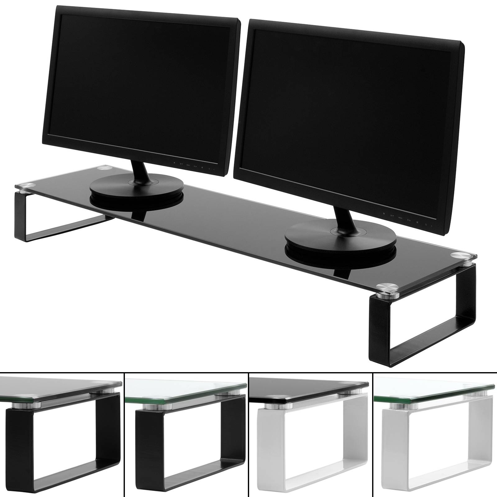 X Large Double Monitor/screen Riser Block Shelf Computer/imac Tv Pertaining To Tv Riser Stand (Photo 3 of 15)