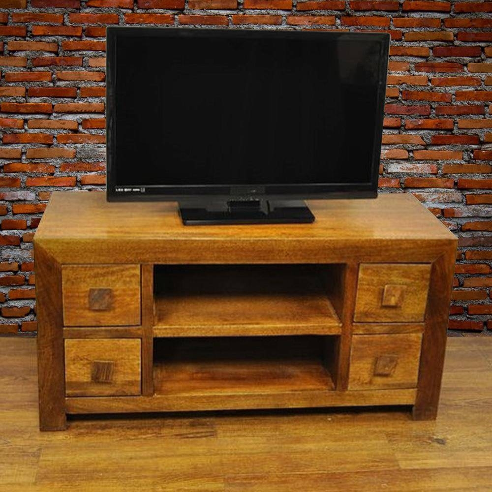 Y Decor Revere Brown Mango Wood Tv Stand Aa 156   The Home Depot Regarding Mahogany Tv Cabinets (Photo 15 of 15)