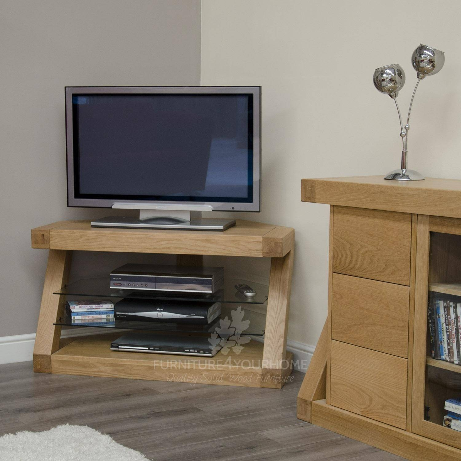 Z Solid Oak Designer Corner Tv Unit | Furniture4Yourhome for Contemporary Oak Tv Cabinets (Image 15 of 15)