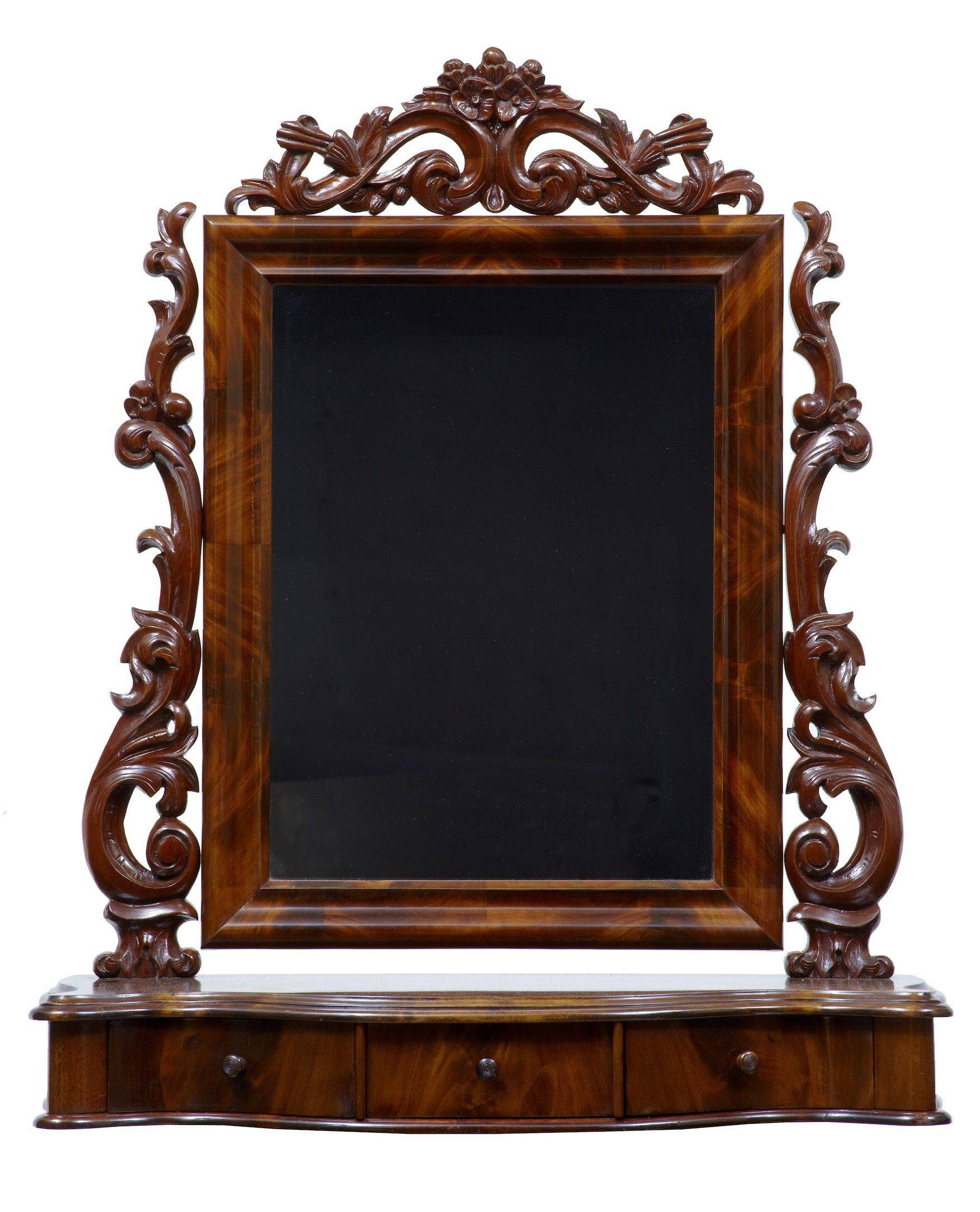 19th Century Carved Mahogany Freestanding Dressing Table Mirror (c Inside Standing Table Mirrors (View 11 of 15)
