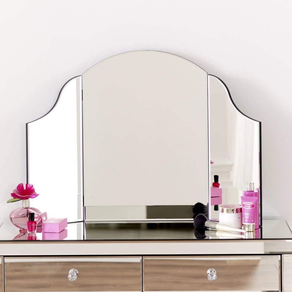 50's Style Angled 2 Drawer Dressing Table And Curved Mirror Set In Free Standing Dressing Table Mirrors (Photo 8 of 15)