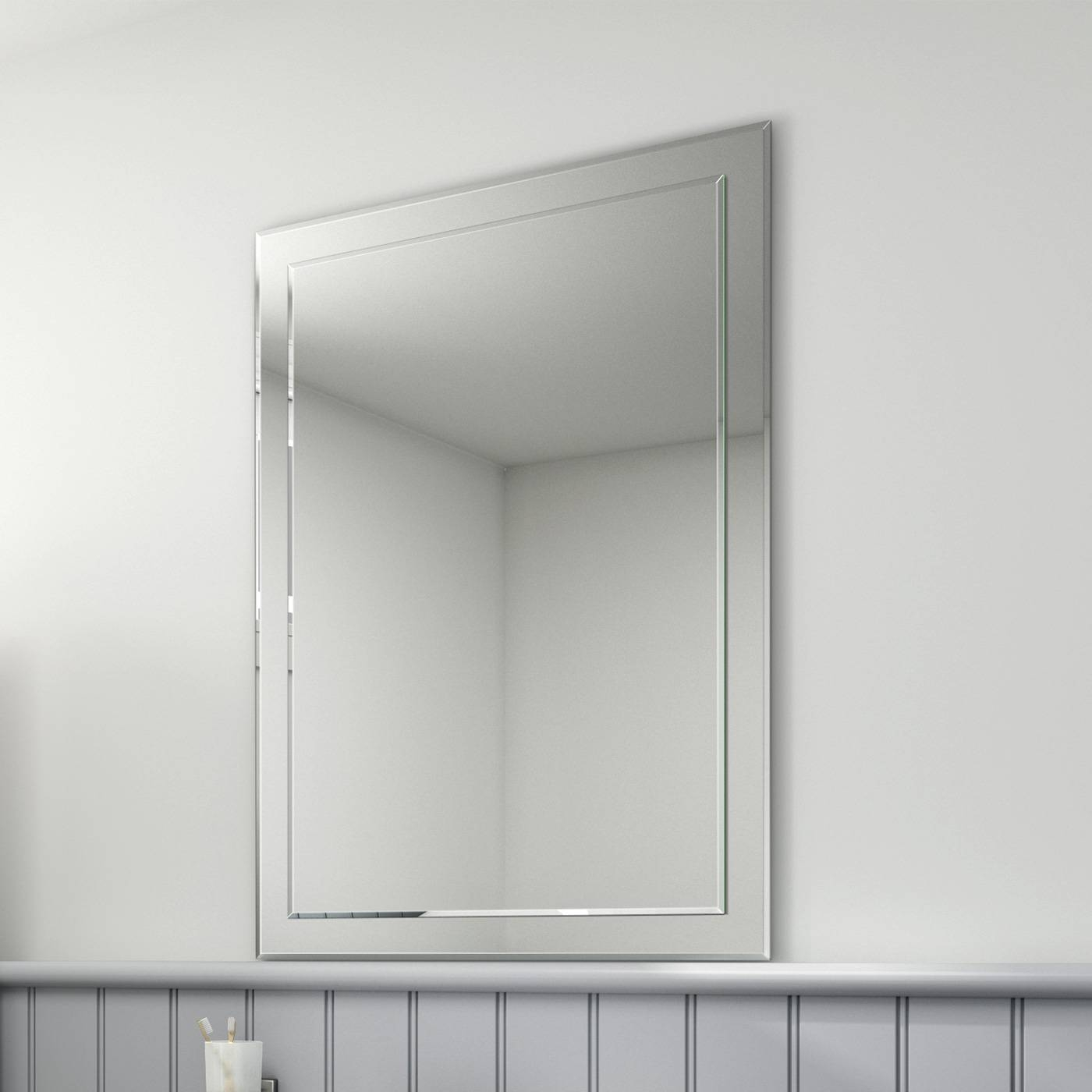 650X900Mm Bevelled Glass Edge Rectangular Bathroom Mirror Mc147 | Ebay Inside Square Bevelled Mirrors (View 3 of 15)