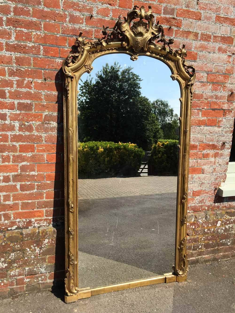 A Spectacular Shaped Top Large Antique 19Th Century French Carved pertaining to French Gilt Mirrors (Image 4 of 15)