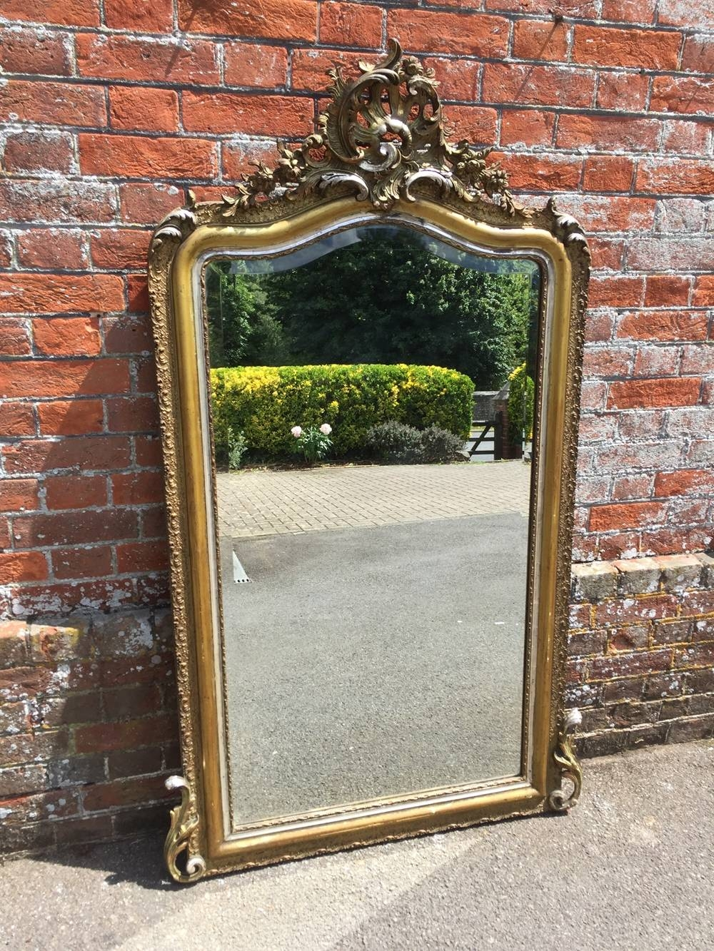 A Superb Large Antique 19Th Century French Carved Wood & Gesso for Large Silver Gilt Mirrors (Image 3 of 15)