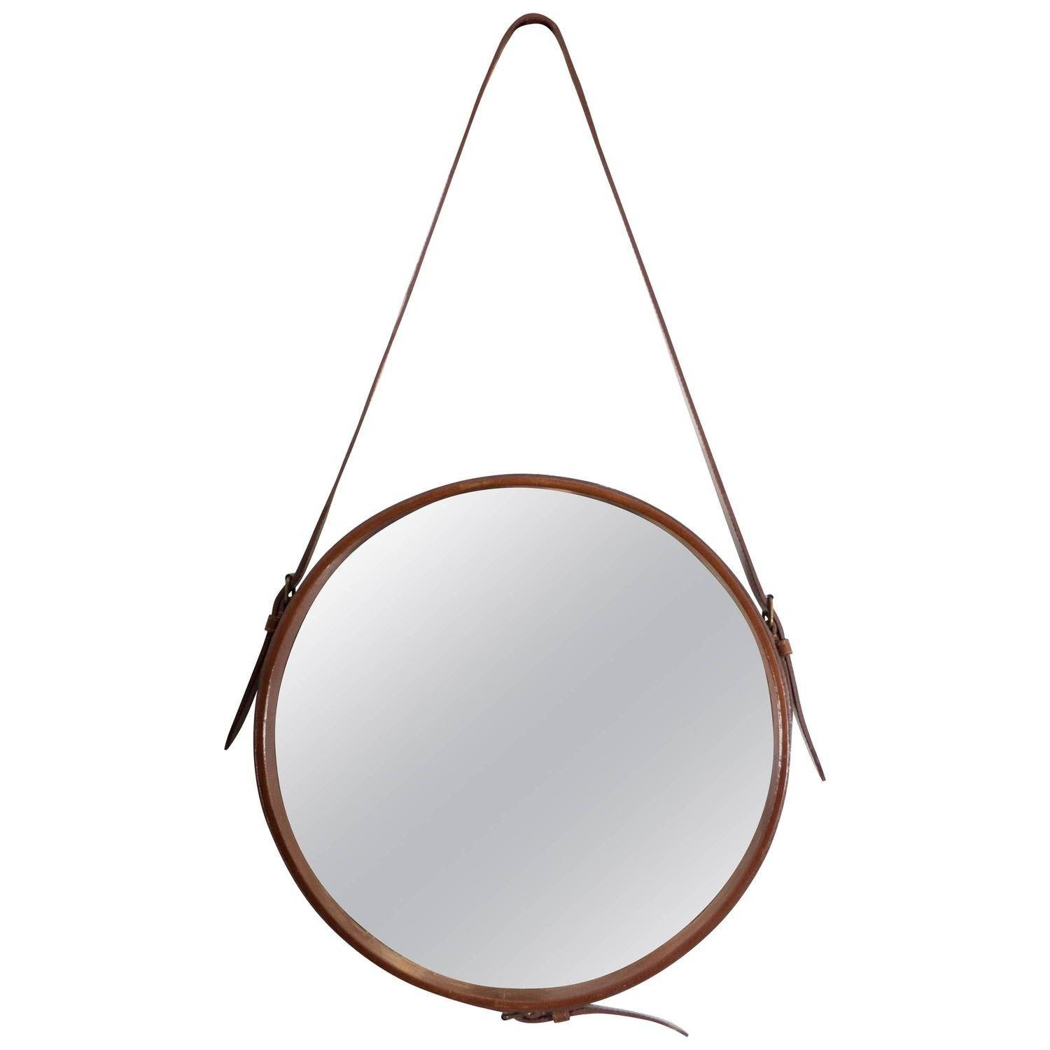 Adnet Round Wall Mirror With Brown Faux Leather Strap Nyshowplace For Round Leather Mirrors (View 9 of 15)