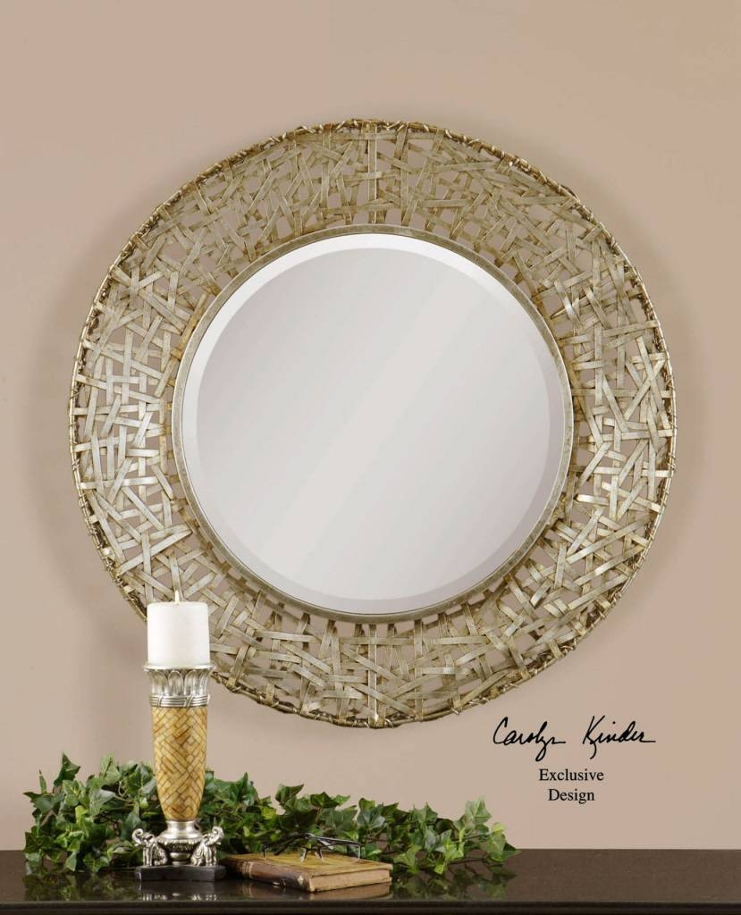 Amazing Round Wall Mirrors Cheap Uttermost Alita Champagne Woven within Large Round Metal Mirrors (Image 1 of 15)