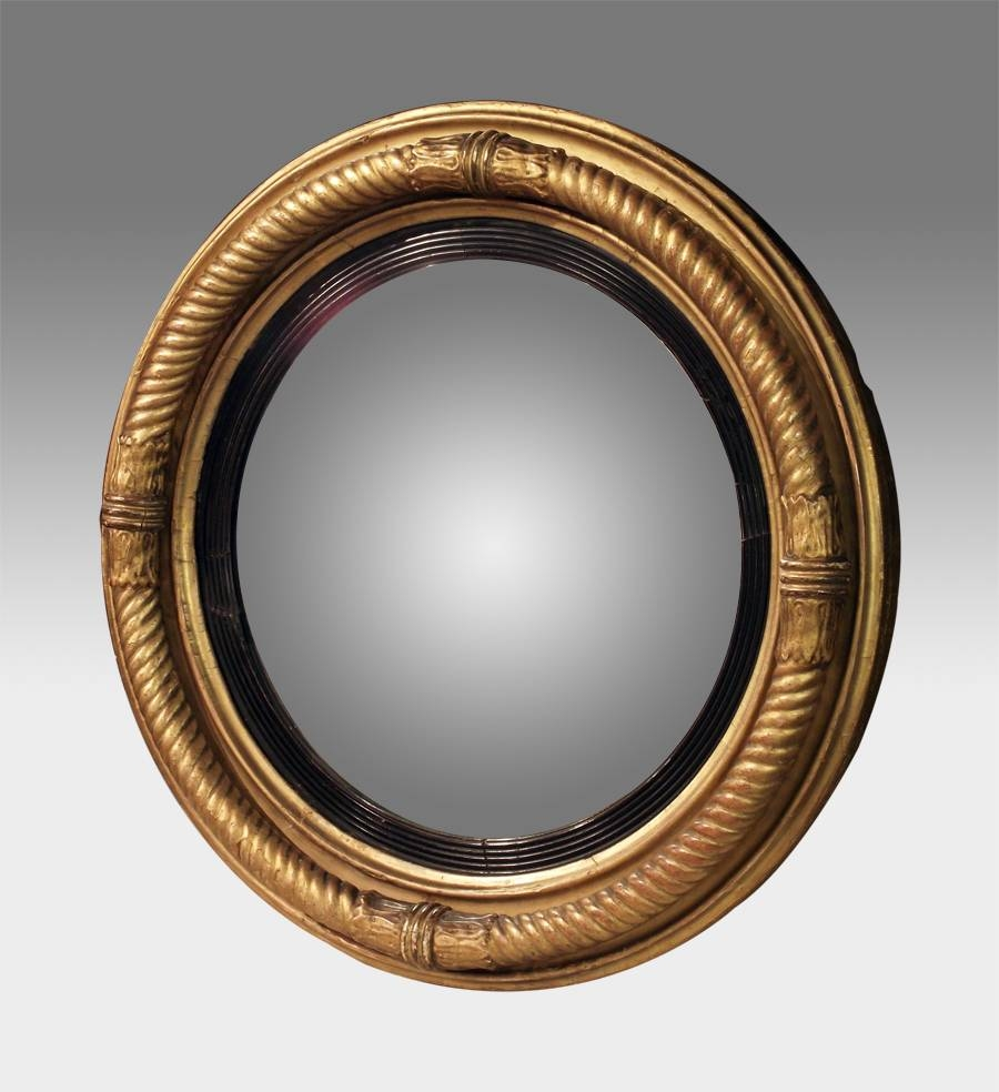 Antique Convex Mirror, Gilt Convex Wall Mirror, Regency Round for Convex Wall Mirrors (Image 3 of 15)