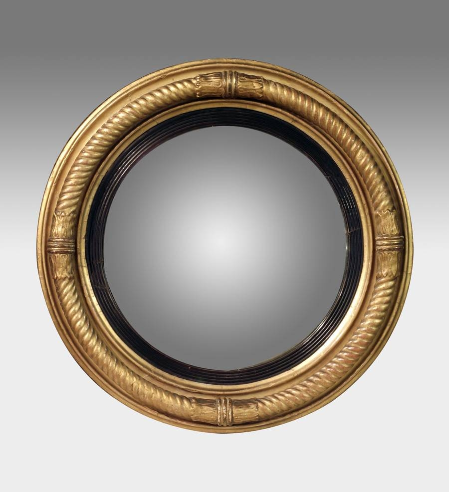 Antique Convex Mirror, Gilt Convex Wall Mirror, Regency Round For Round Gilt Mirrors (View 2 of 15)