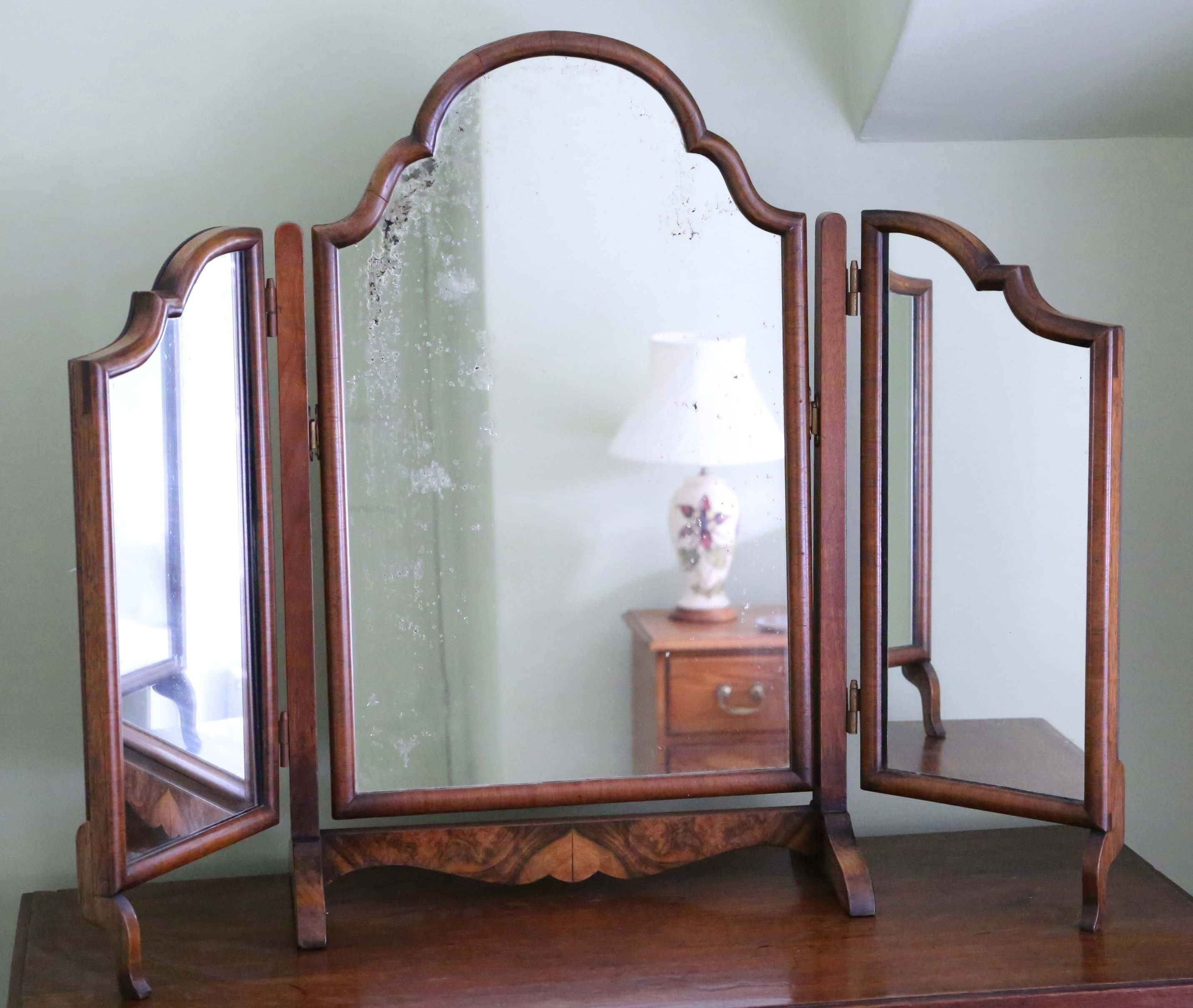 Antique Early 20C Walnut Dressing Table Triple Tryptich Mirror throughout Antique Triple Mirrors (Image 1 of 15)