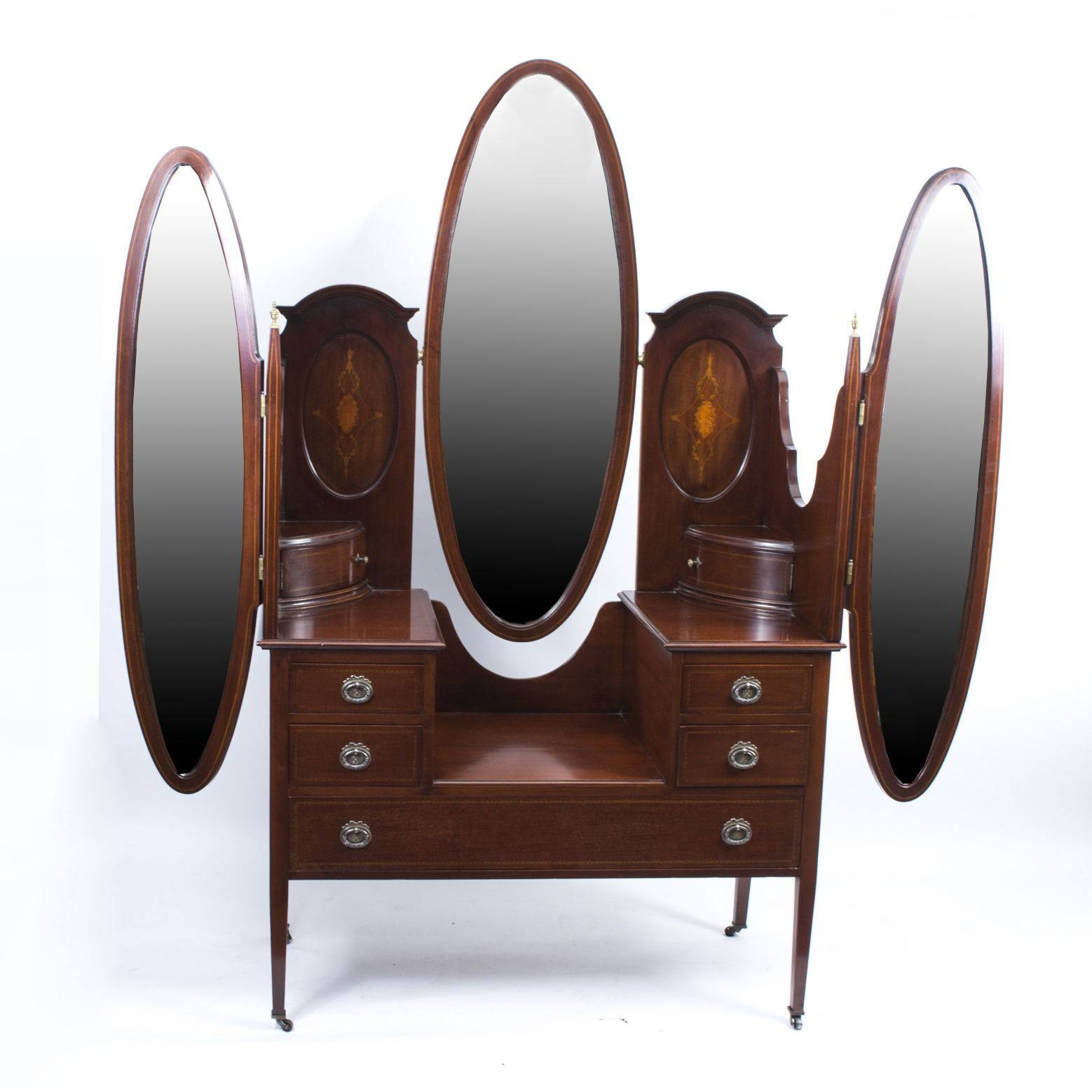 Antique Edwardian Mahogany Triple Mirror Dressing Table C.1900 (C throughout Antique Triple Mirrors (Image 2 of 15)