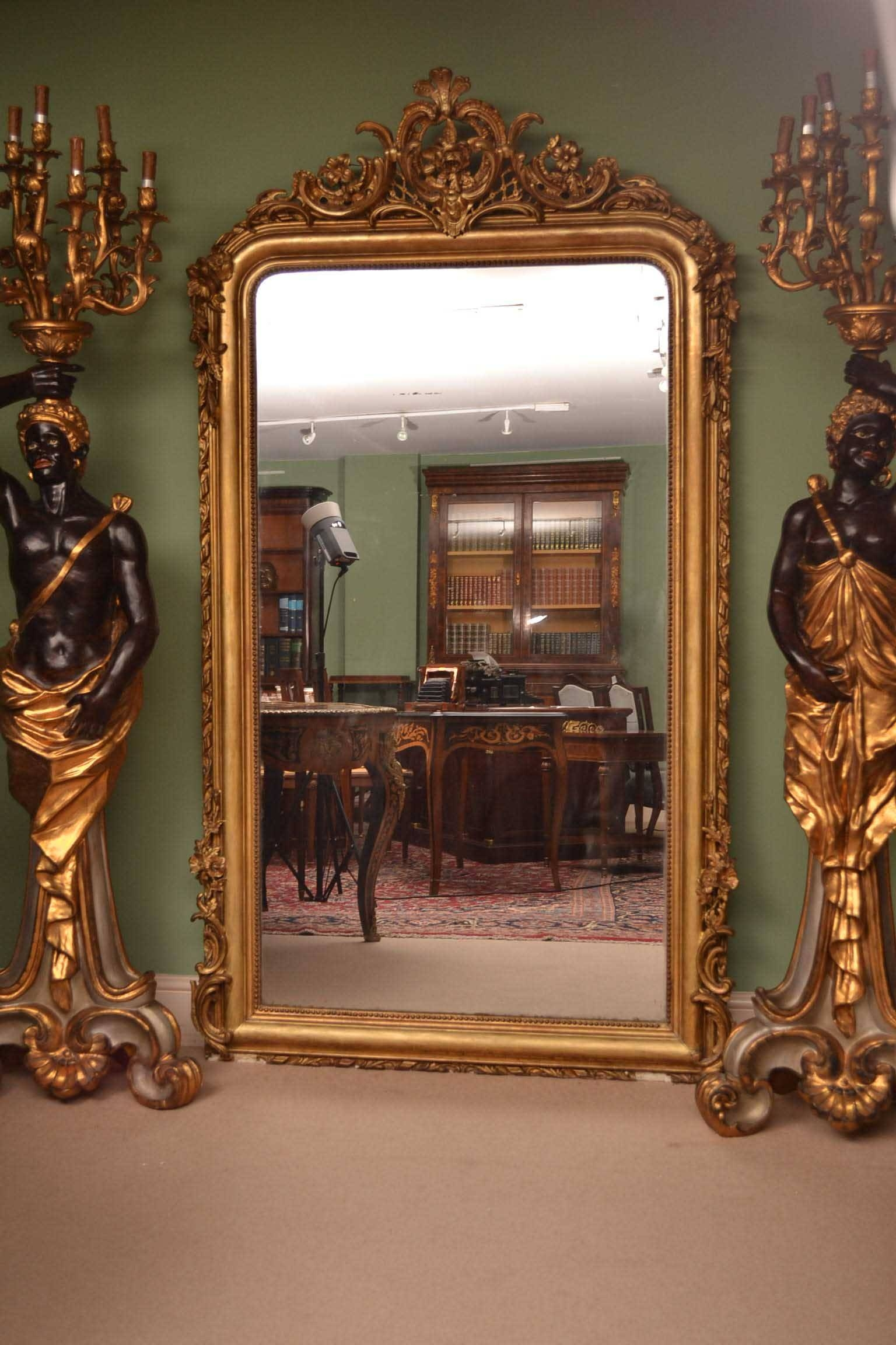 Antique Elegant French Giltwood Overmantle Mirror Pertaining To French Antique Mirrors (View 3 of 15)