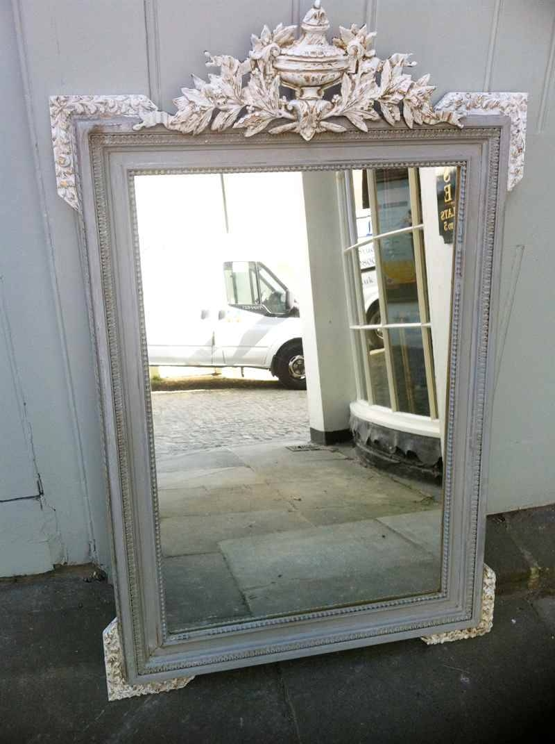 Antique French Painted Urn Crested Wall Mirror (View 8 of 15)