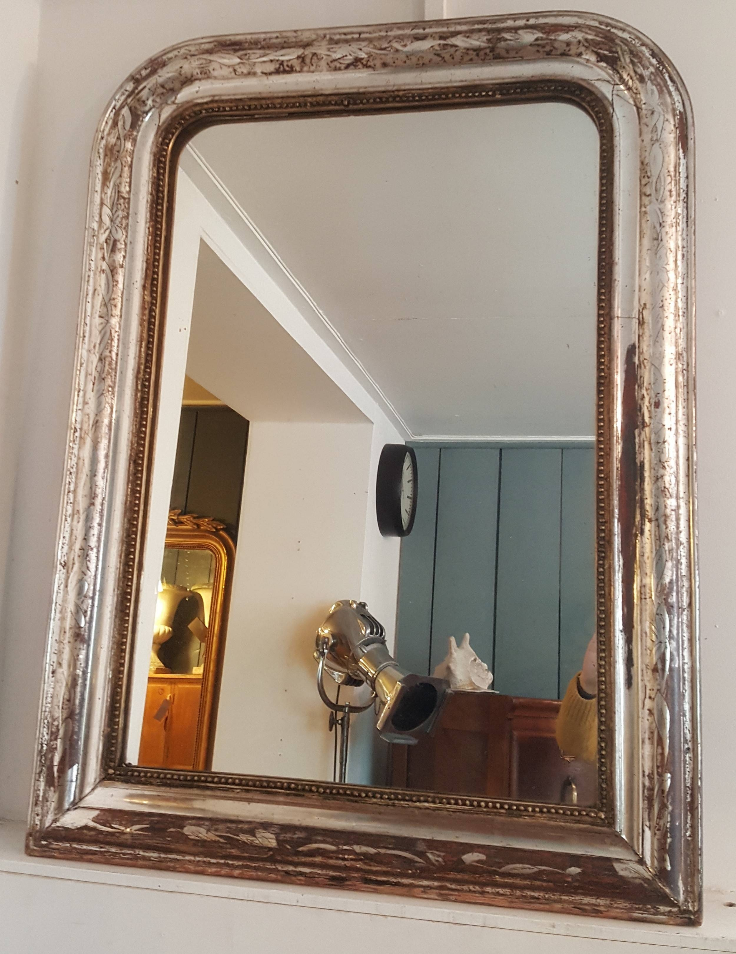 Antique French Silver Gilded Mirror | 513360 | Sellingantiques.co (View 1 of 15)