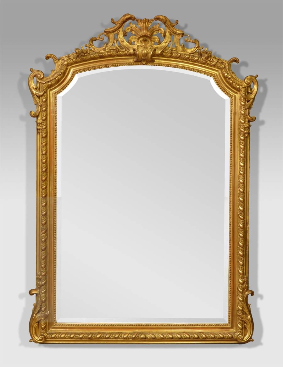 Antique Gilt Mirror, French Antique Mirror, Antique Gold Mirror Within French Antique Mirrors (View 9 of 15)