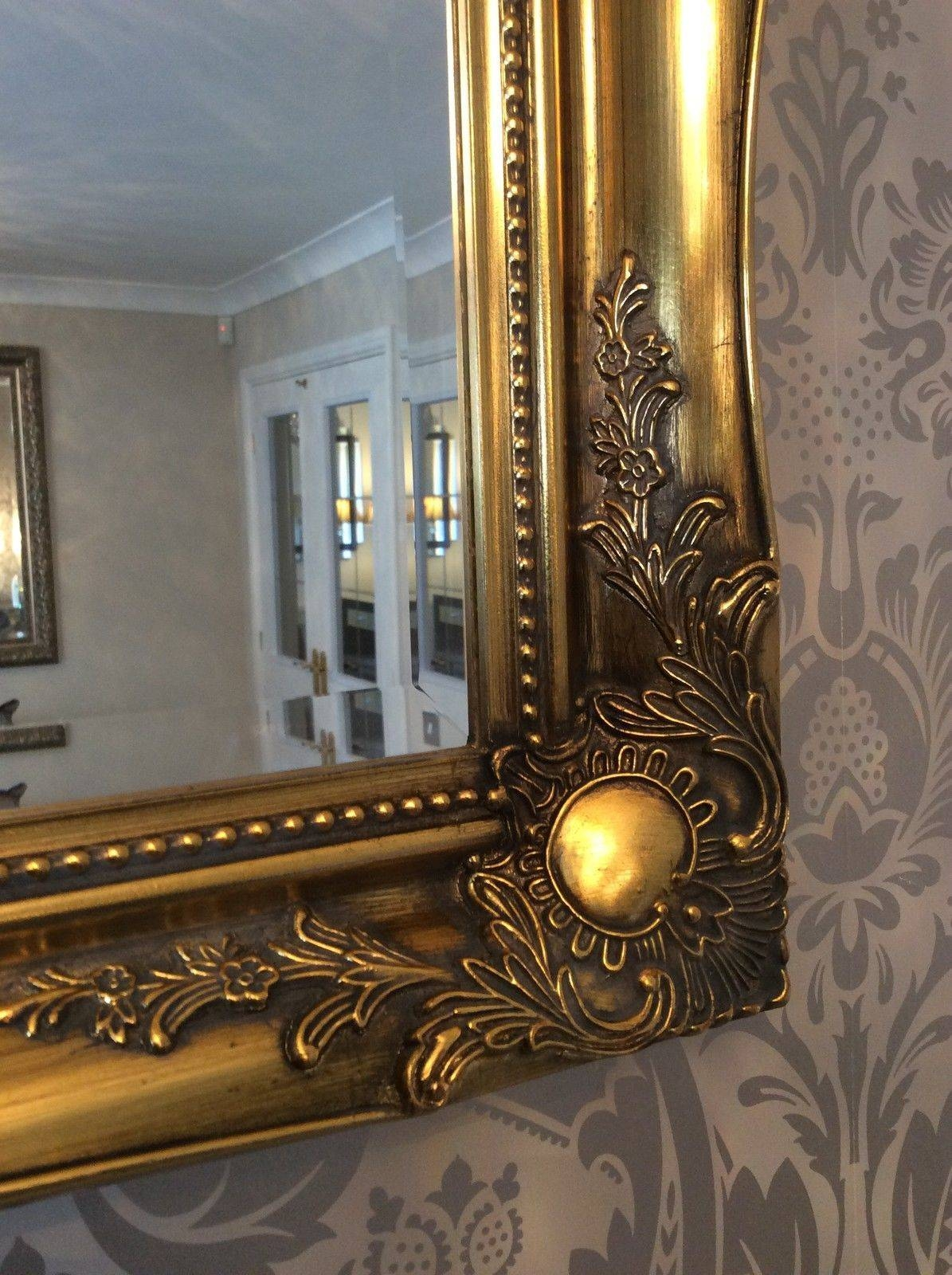 Antique Gold Shabby Chic Framed Ornate Overmantle Mirror – Choose Inside Gold Shabby Chic Mirrors (View 3 of 15)