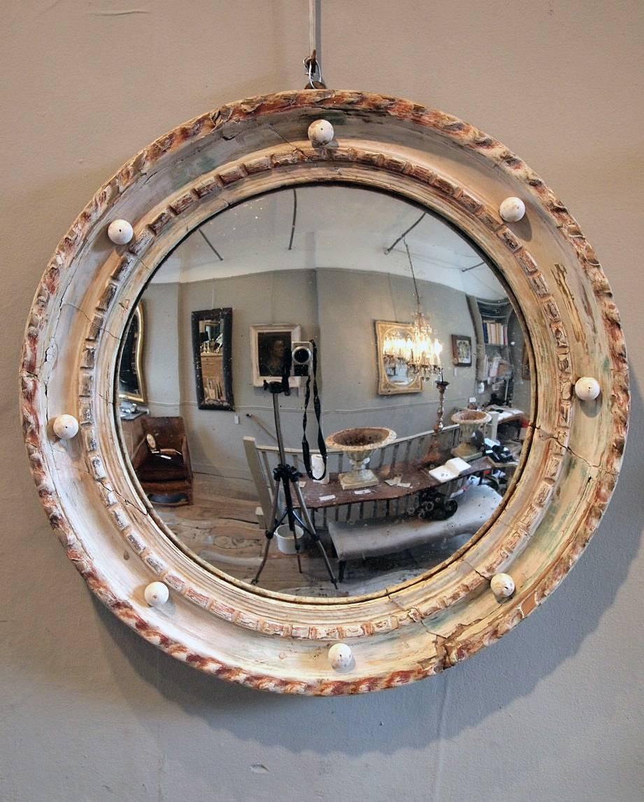 Antique Round Convex Mirror › Puckhaber Decorative Antiques Regarding White Convex Mirrors (View 14 of 15)
