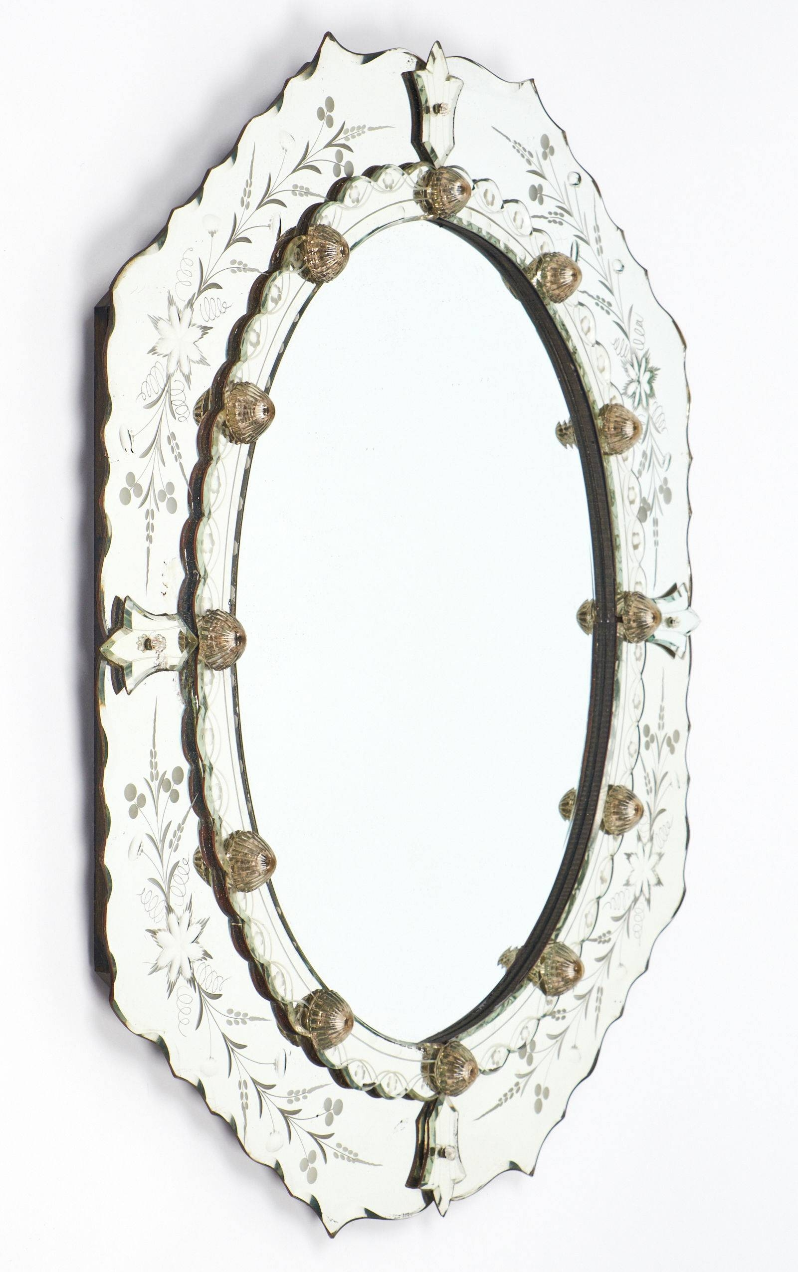 Antique Venetian Glass Oval Mirror – Jean Marc Fray Pertaining To Venetian Oval Mirrors (View 9 of 15)