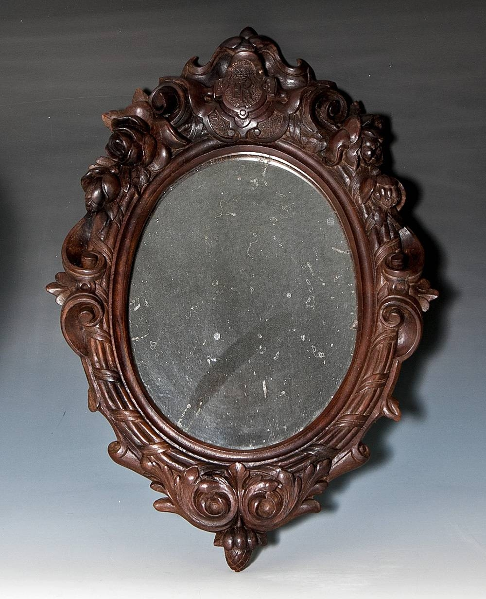 Antique Victorian Era Hand Carved Wood Black Forest Frame With Pertaining To Victorian Mirrors (View 15 of 15)