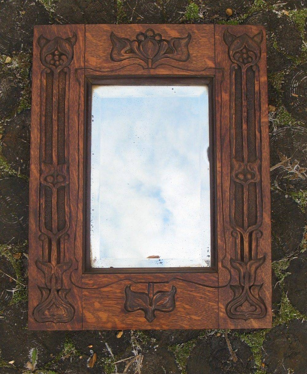 Antiques Atlas - Art Nouveau Carved Oak Mirror throughout Antique Oak Mirrors (Image 4 of 15)