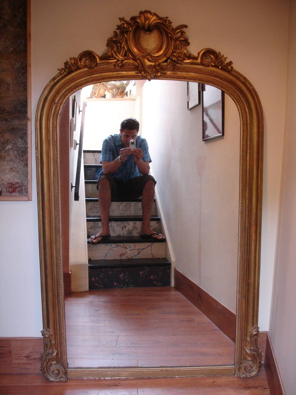 Antiques Atlas - Large Antique French Gilt Wood & Gesso Mirror throughout Large Old Mirrors (Image 3 of 15)