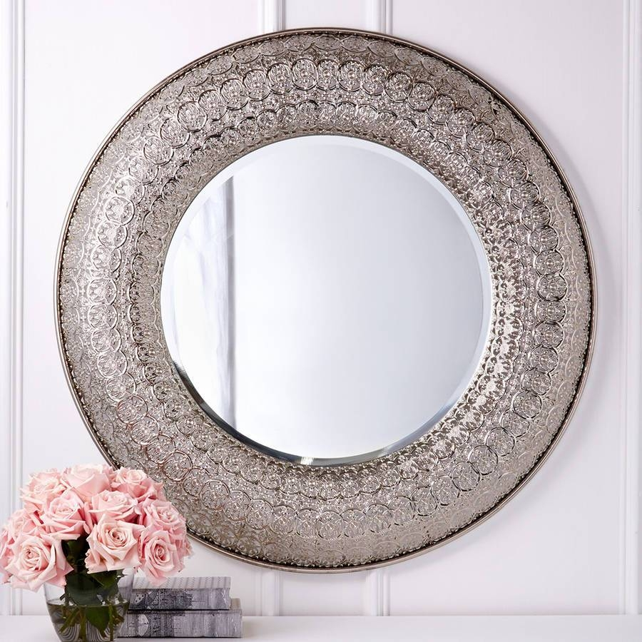 Appealing Round Silver Metal Wall Decor Pcs Silver D Mirror pertaining to Large Round Metal Mirrors (Image 2 of 15)