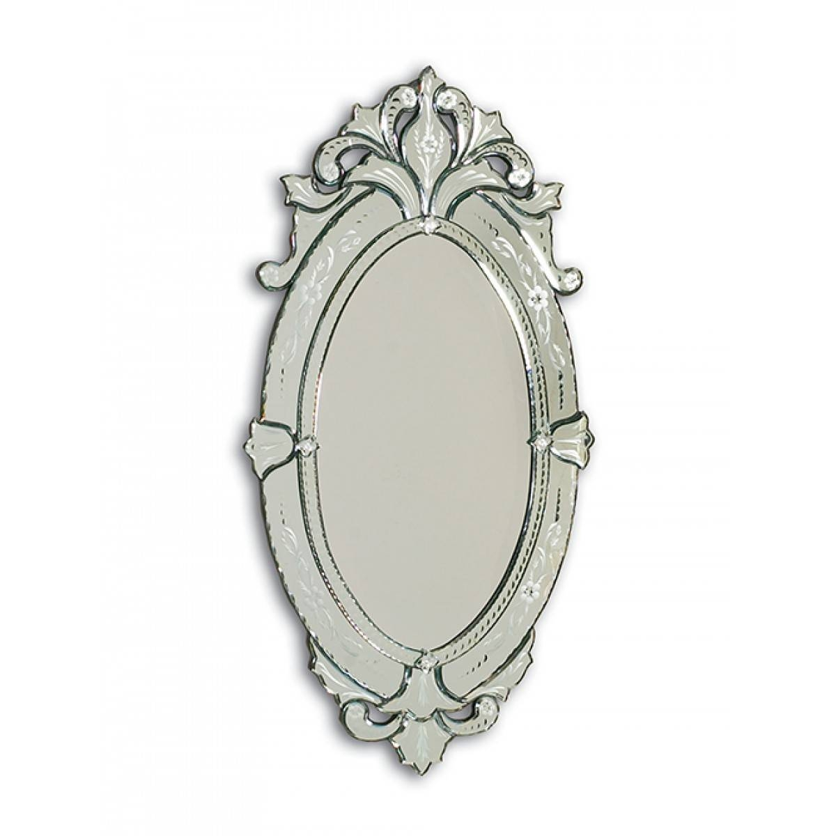 Barge Hand Cut And Etched Oval Venetian Glass Mirror Frame Regarding Venetian Glass Mirrors (View 4 of 15)