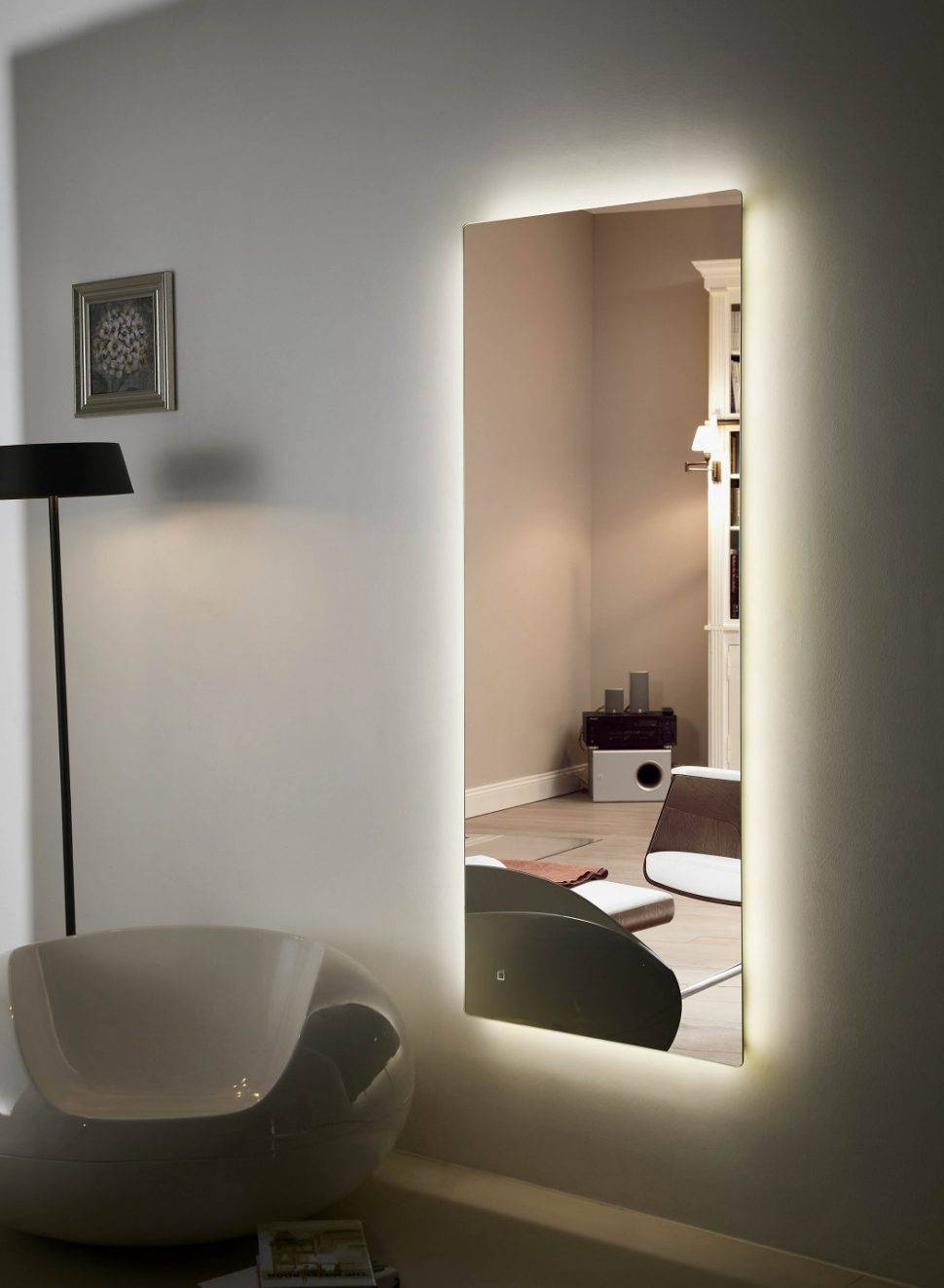 Bathroom Cabinets : Backlit Mirror Led Bathroom Anzo Iv And intended for Large Illuminated Mirrors (Image 3 of 15)