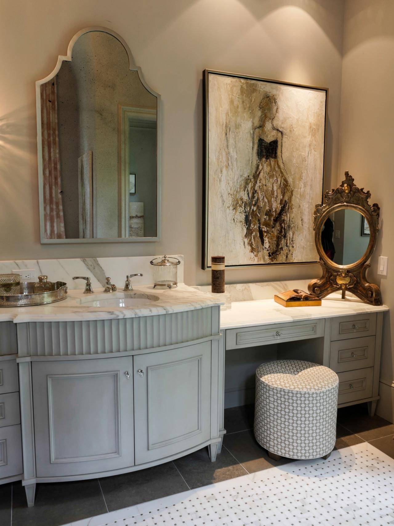 Bathroom Cabinets Double Antique French Style Regarding Mirrors Photo 5