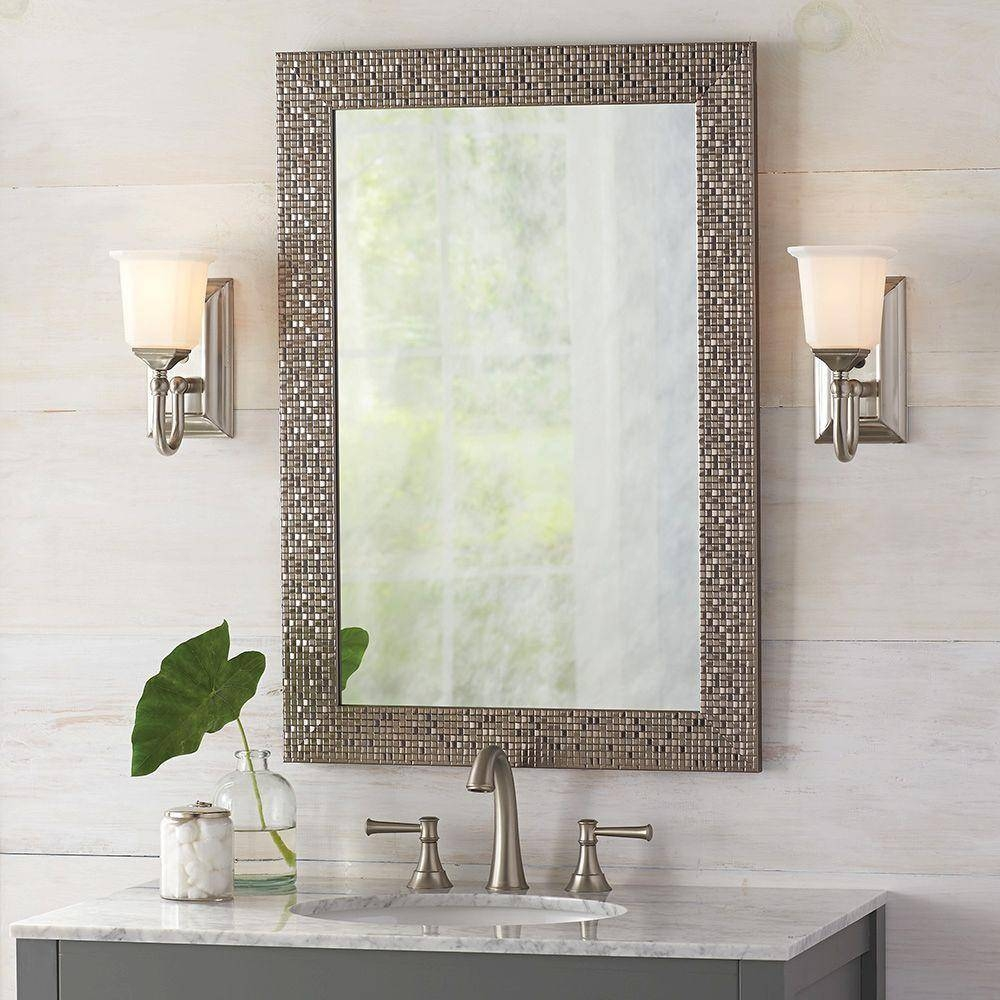 Bathroom Cabinets : Illuminated Bathroom Mirrors Black Framed in Long Silver Mirrors (Image 2 of 15)