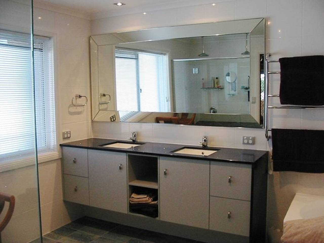 Bathroom Cabinets : Large Bathroom Bathroom Mirrors Contemporary In Chamfered Edge Mirrors (View 1 of 15)
