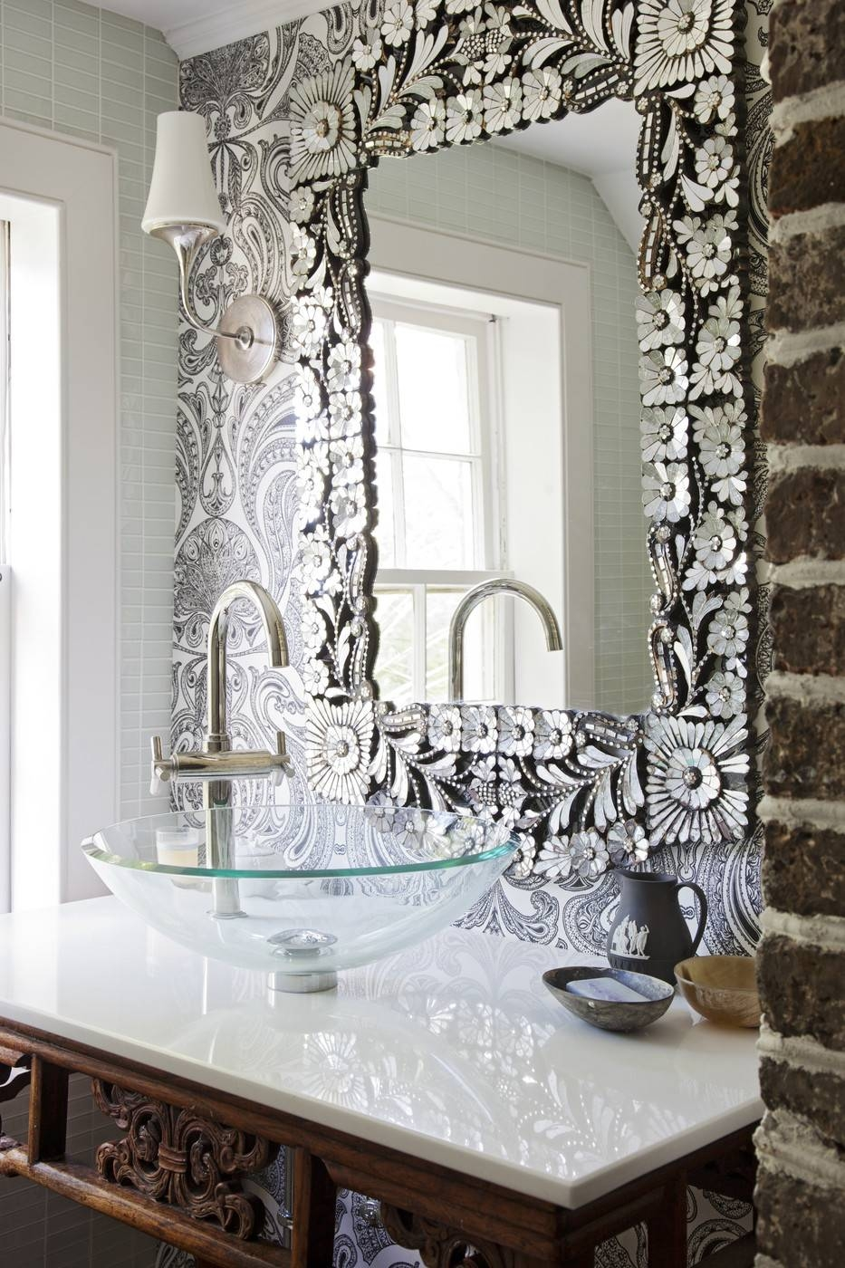 15 inspirations of long silver wall mirrors for Mirror on mirror decorating for bathroom