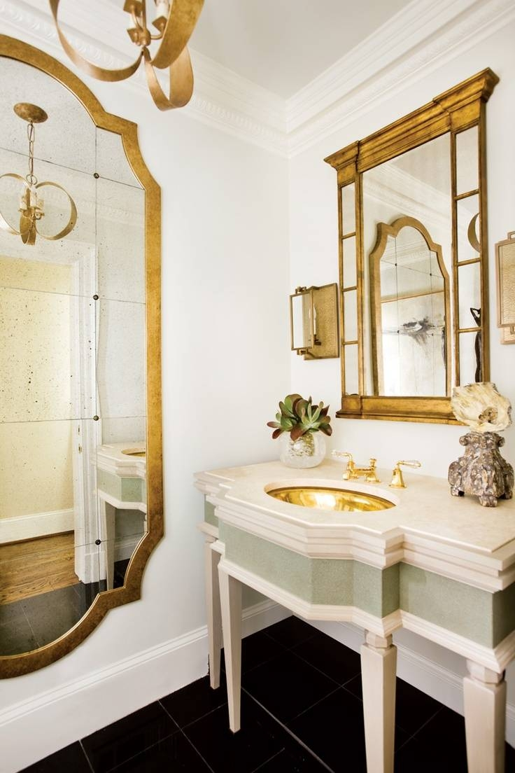 Bathroom Cabinets : The Enchanted Home Gold Bathroom Mirror Sink Within French Style Bathroom Mirrors (View 3 of 15)