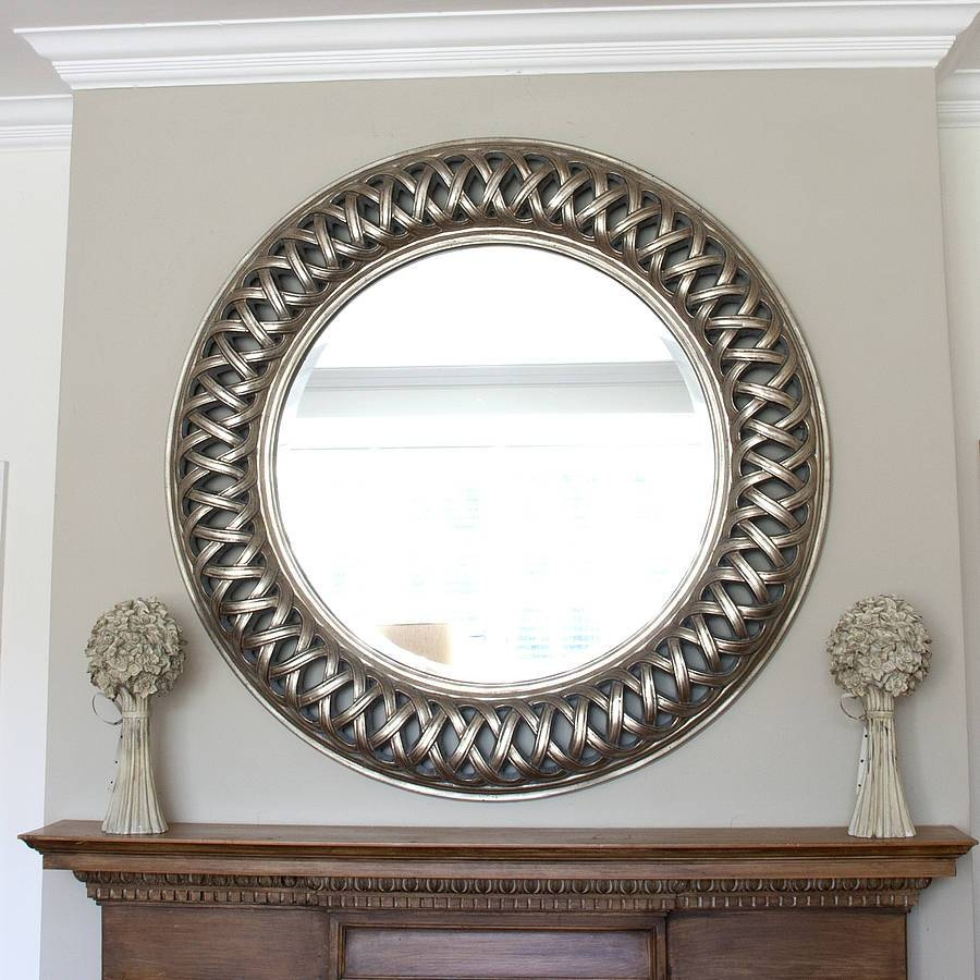 Bathroom Grand Silver Open Weave Round Mirrordecorative inside Decorative Round Mirrors (Image 2 of 15)