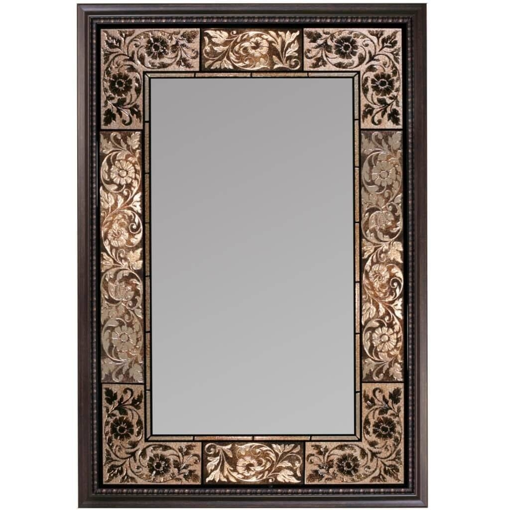 Bathroom: Large Vertical Bathroom Mirror With Floral Carving Metal with Large Metal Mirrors (Image 3 of 15)