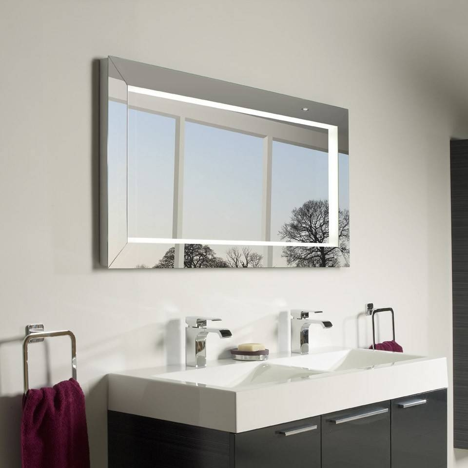 Bathroom Mirrors : Simple Large Illuminated Bathroom Mirror Modern in Large Illuminated Mirrors (Image 13 of 15)