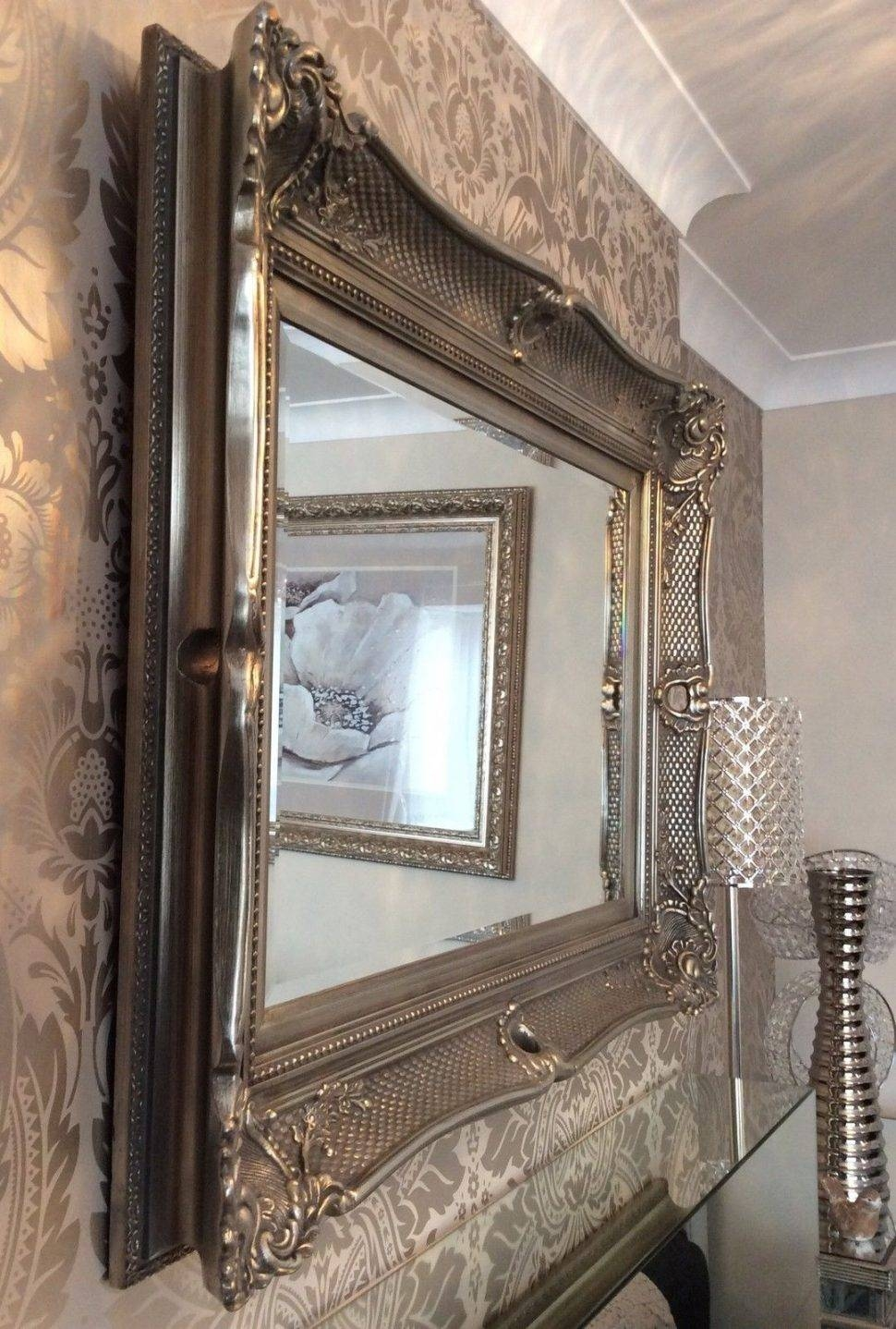 Bathrooms Design : Big Silver Mirror Decorative Wall Mirrors Tall For Large Cream Mirrors (View 6 of 15)