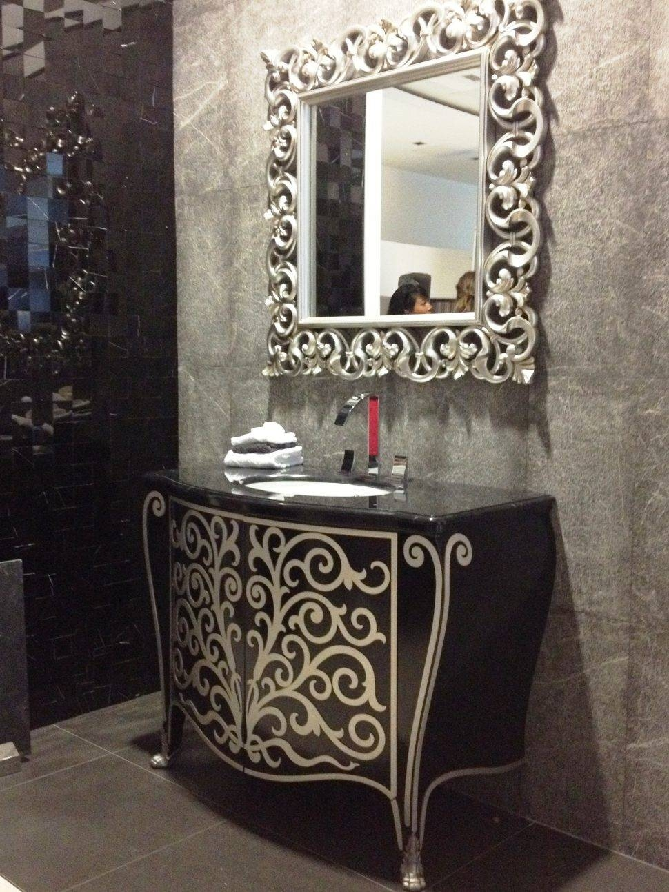 Bathrooms Design : Round Bathroom Mirrors Large Vanity Mirror with regard to Long Silver Mirrors (Image 6 of 15)