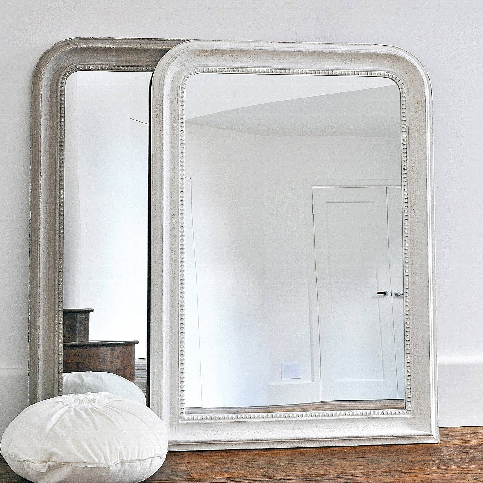 Beaded Wall Mirror – Grey & White – Primrose & Plum Throughout Curved Top Mirrors (View 4 of 15)