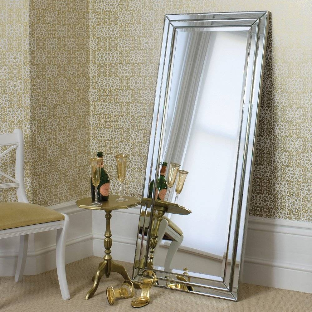 Bedroom: Leaner Mirror With Silver Frame On Tan Floor Matched With for Cream Floor Standing Mirrors (Image 2 of 15)